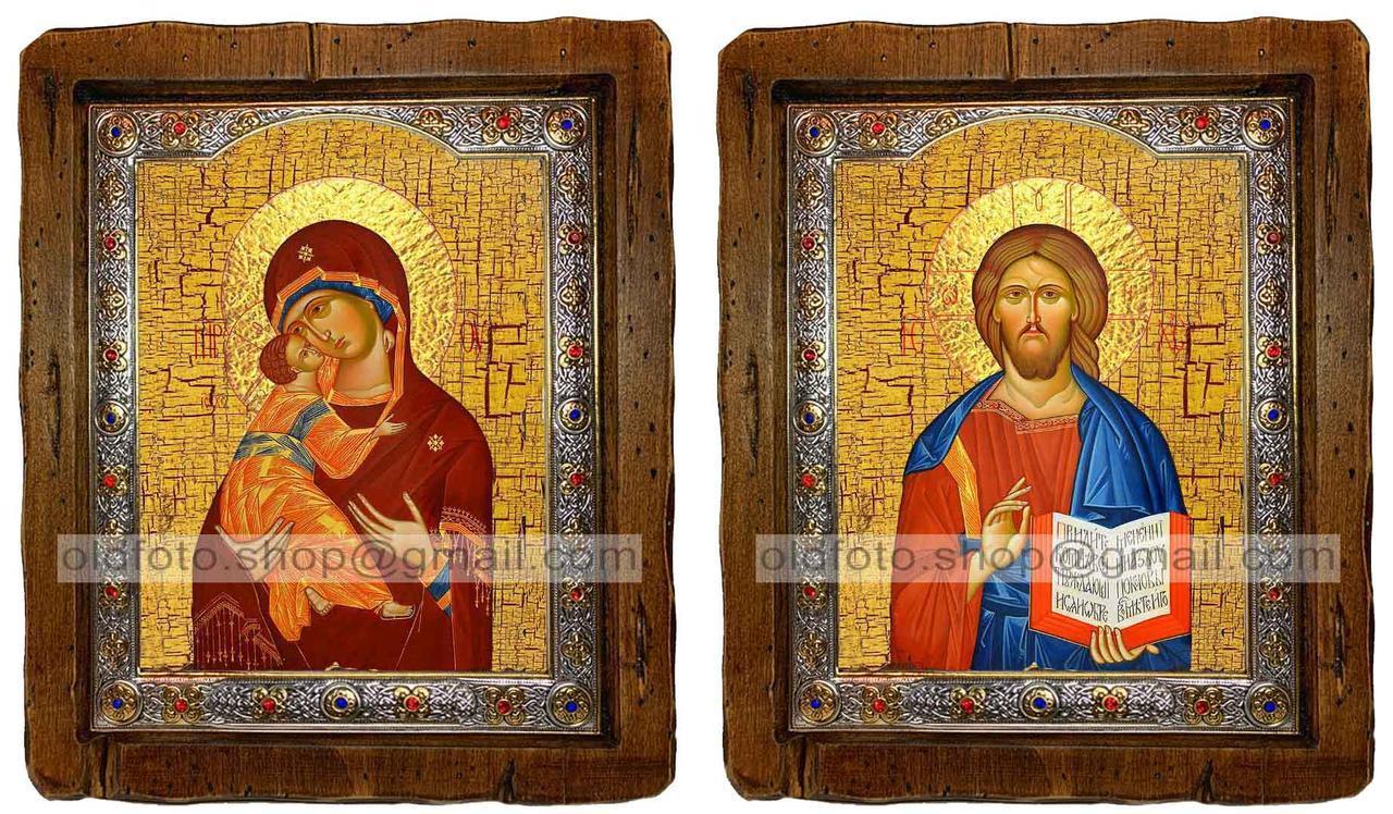 Иконы Венчальная пара Владимирская Пресвятая Богородица и Спаситель  ,с посеребренным окладом