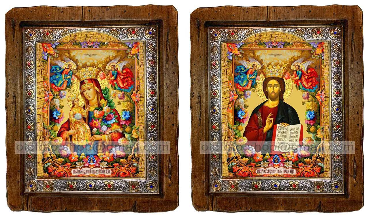 Иконы Венчальная пара Неувядаемый цвет Пресвятая Богородица и Спаситель  ,с посеребренным окладом