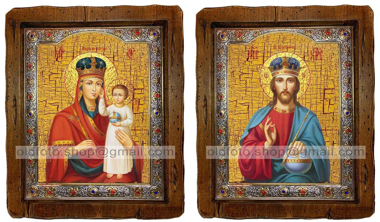 Иконы Венчальная пара Призри на смирение Пресвятая Богородица и Спаситель  ,с посеребренным окладом