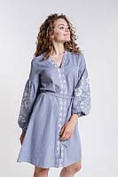 Платье-вышиванка расклешенное серое