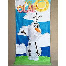 """Детское пляжное полотенце махровое покрывало, для мальчика, девочки, подстилка коврик """"Олаф"""""""