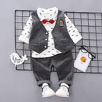 Нарядный костюм-тройка для мальчика на 1-2-3 годика Серый L