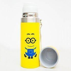 Термос детский SUNROZ Миньон с чашкой и шнурком Желтый 500 мл