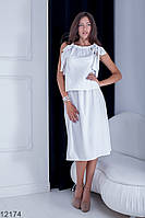 Жіночий костюм спідниця і топ Подіум Bromelia 12174-WHITE S Білий