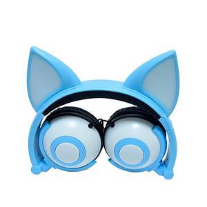 Наушники LINX Bear Ear Headphone наушники с ушками Лисички LED Голубой