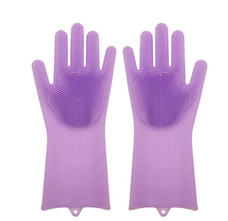 Силіконові рукавиці SUNROZ для миття посуду зі щіточкою Фіолетовий
