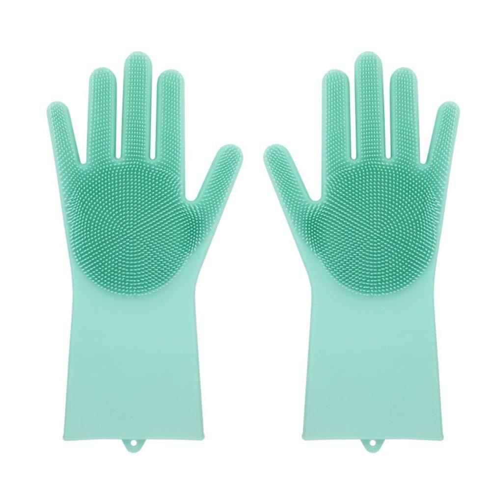 Силіконові рукавиці SUNROZ для миття посуду зі щіточкою Зелений