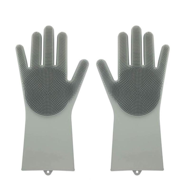 Силіконові рукавиці SUNROZ для миття посуду зі щіточкою Сірий