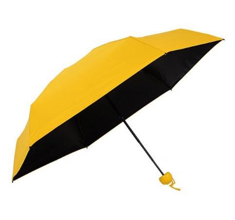 Зонт складной SUNROZ Pill Box Umbrella универсальный карманный мини зонтик в футляре капсула Желтый