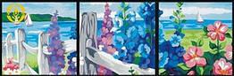 """Раскраска по цифрам MENGLEI """"Триптих. Цветущая изгородь"""" (MT3001) Триптих 50 х 150 см"""