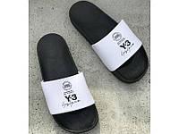Мужские летние тапки шлепанцы Adidas Y3 Чорно-белые (р.43) (LZ)