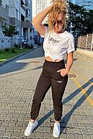 Спортивный костюм футболка и штаны на манжетах  Crep - черный цвет, L (есть размеры)