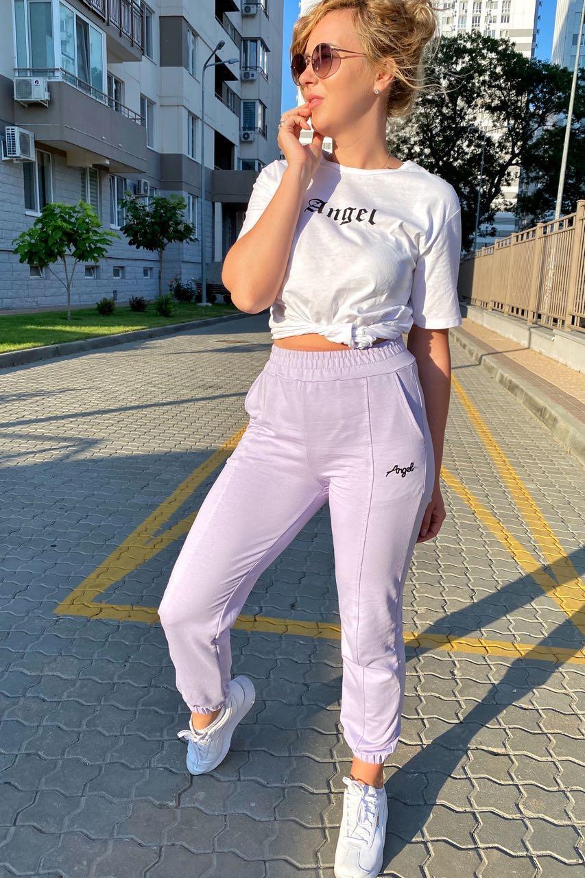 Спортивный костюм футболка и штаны на манжетах  Crep - лавандовый цвет, L (есть размеры)