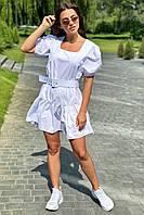 Трендовое женское платье с рукавами-фонариками и поясом    Avrile - белый цвет, S (есть размеры)