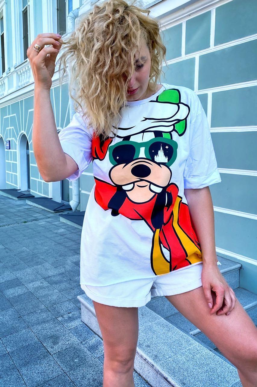 Модная футболка женская с принтом Гуффи  LUREX - белый цвет, M (есть размеры)