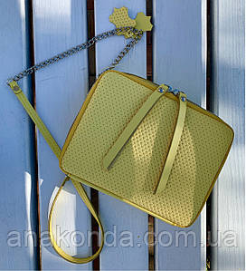68-4 Натуральная кожа Сумка женская кросс-боди желтая Кожаная сумочка с цепочкой Сумка кожаная желтая лимонная