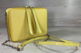 68-4 Натуральная кожа Сумка женская кросс-боди желтая Кожаная сумочка с цепочкой Сумка кожаная желтая лимонная, фото 2