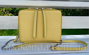 68-4 Натуральная кожа Сумка женская кросс-боди желтая Кожаная сумочка с цепочкой Сумка кожаная желтая лимонная, фото 3