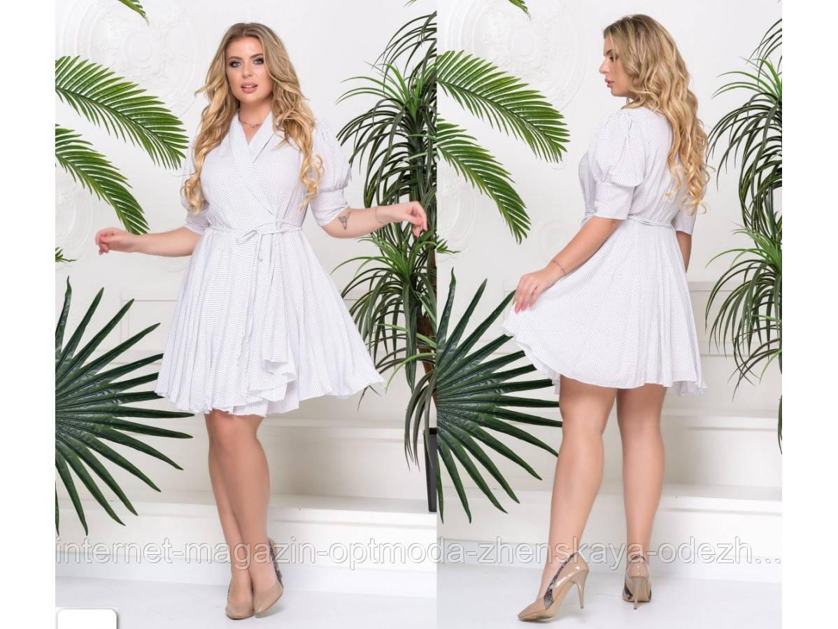 Літнє жіноче плаття на запах великих розмірів, штапель, розмір 48-52, 54-58, білий