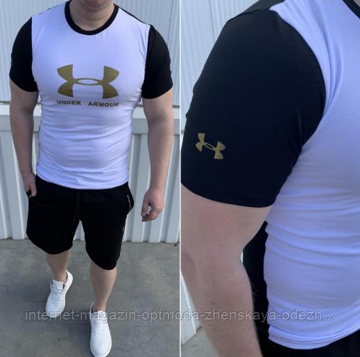 Мужской спортивный летний костюм, двухнитка, размер  S, M, L, XL, XXL, черно-белый
