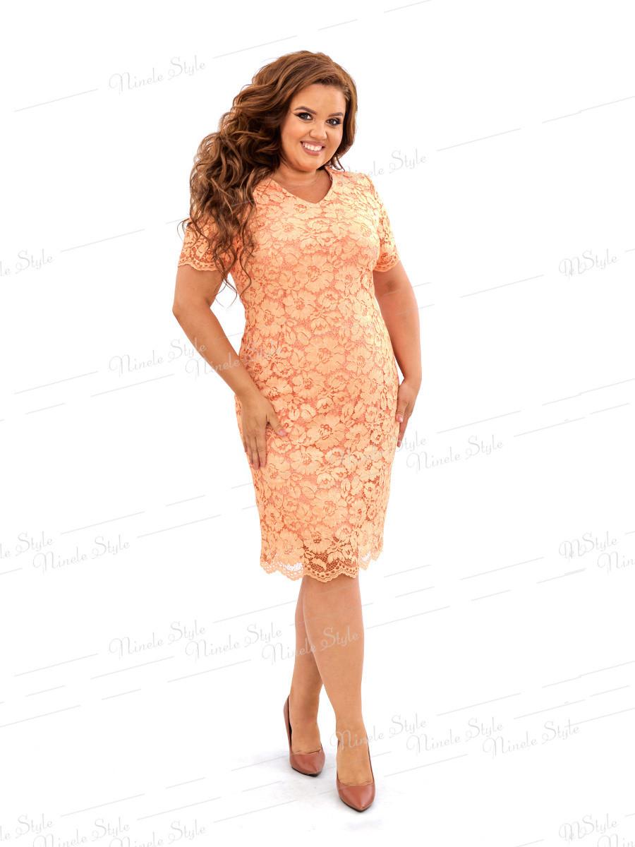 Кружевное оранжевое платье 458 54