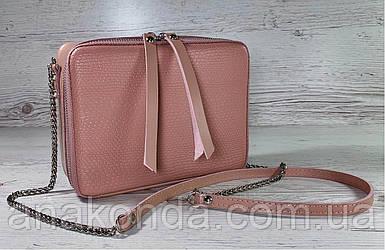 69-4 Натуральная кожа, Сумка женская кросс-боди пудровая розовая Сумочка пудра через плечо Сумка cross-body