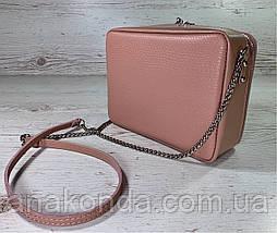 69-4 Натуральная кожа, Сумка женская кросс-боди пудровая розовая Сумочка пудра через плечо Сумка cross-body, фото 2