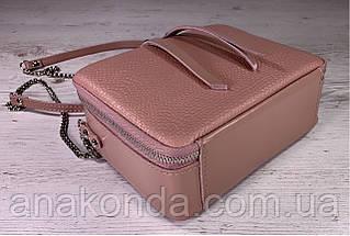 69-4 Натуральная кожа, Сумка женская кросс-боди пудровая розовая Сумочка пудра через плечо Сумка cross-body, фото 3