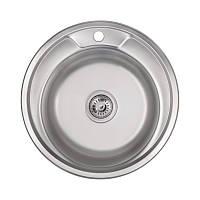 Мийка для кухні кругла Lidz 49см Polish 0,6 мм нержавіюча сталь