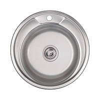 Мийка кругла для кухні Lidz 49см 0,8 мм нержавіюча сталь