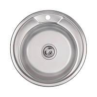 Мийка для кухні нержавіюча сталь Lidz 49см Satin 0,8 мм кругла