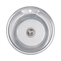 Кухонна мийка кругла Lidz 490-A Декор 0,8 мм нержавіюча сталь