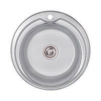 Кухонна мийка кругла Lidz 51см Decor 0,6 мм нержавіюча сталь