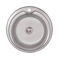 Мийка для кухні кругла з нержавійки Lidz 51см Satin 0,8 мм