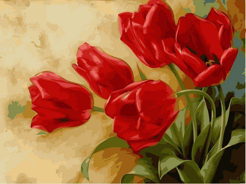 VK015 Раскраска по номерам Букет тюльпанов худ Левашов Анатолий
