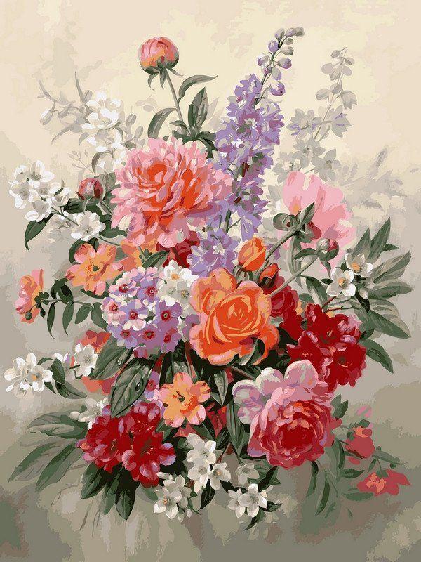 VK019 Раскраска по номерам Букет в пастельных тонах худ Вильямс Альберт