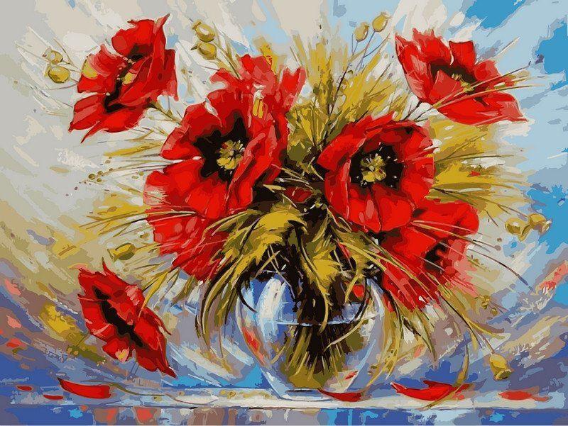 VK025Раскраска по номерам Маки в стеклянной вазе худ Сыдорив Зиновий