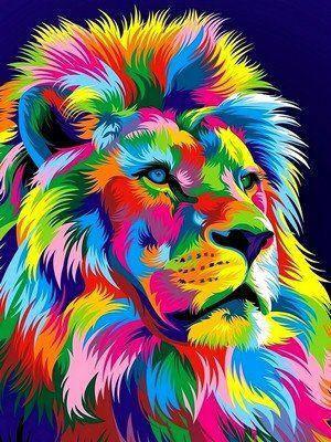 VK037 Раскраска по номерам Радужный лев, фото 2