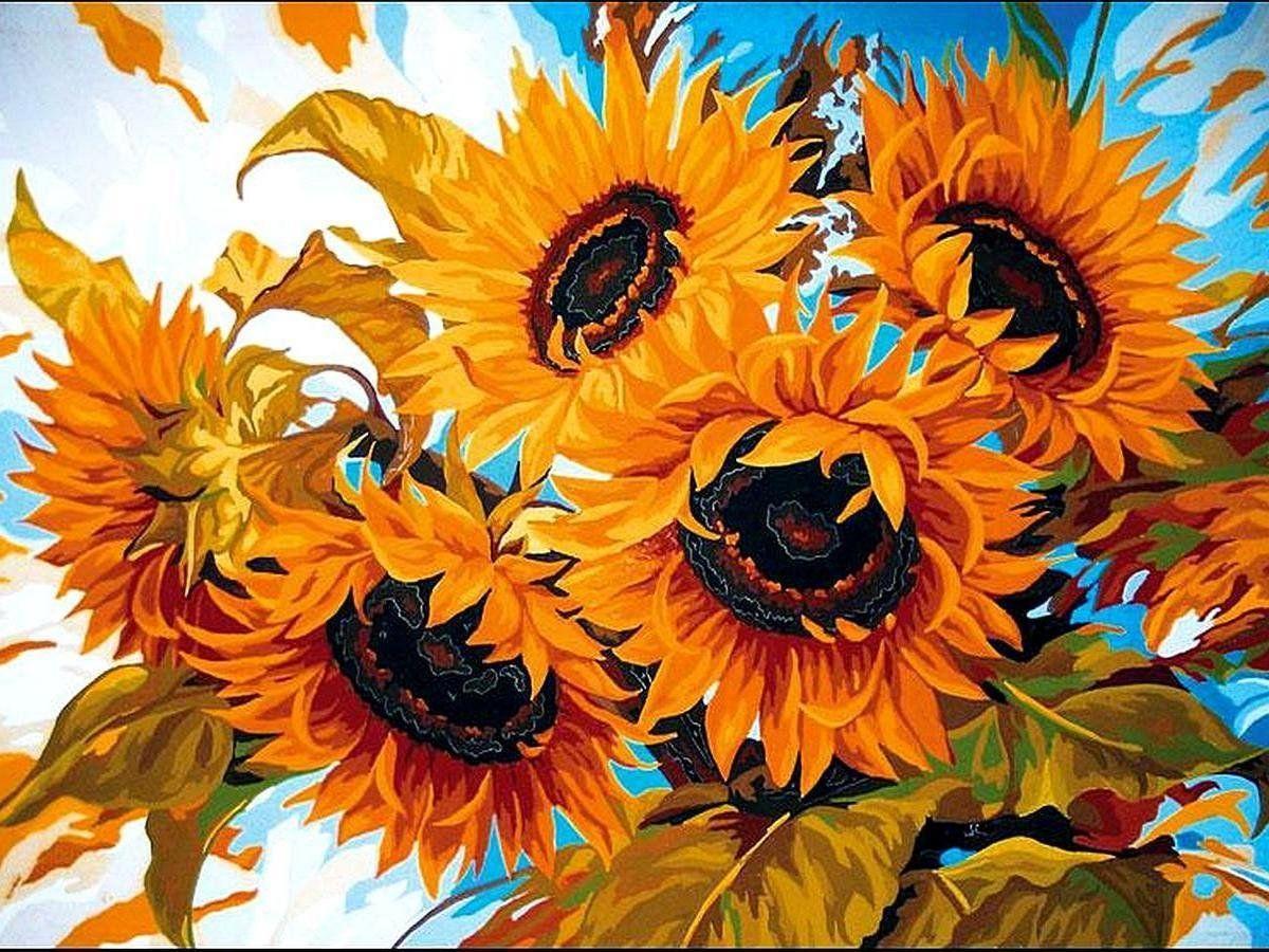 VK079 Раскраска по номерам Солнечный букет