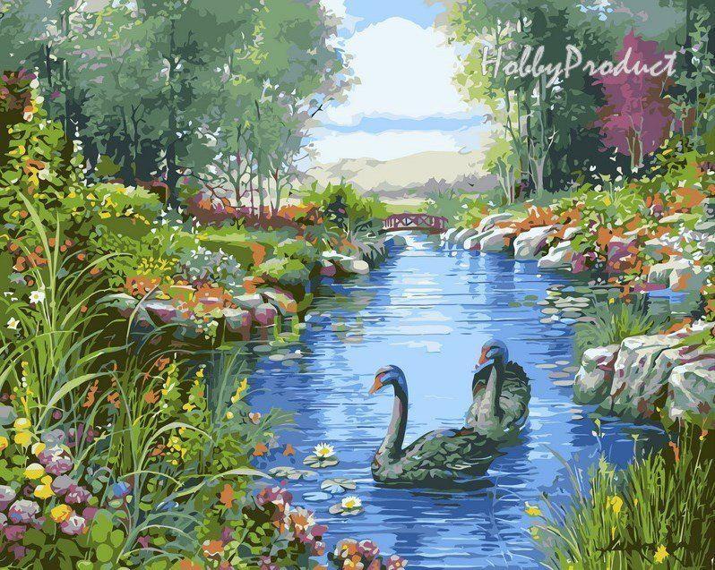 VP127 Раскраска по номерам Черные лебеди худ. Орпинас Андрес