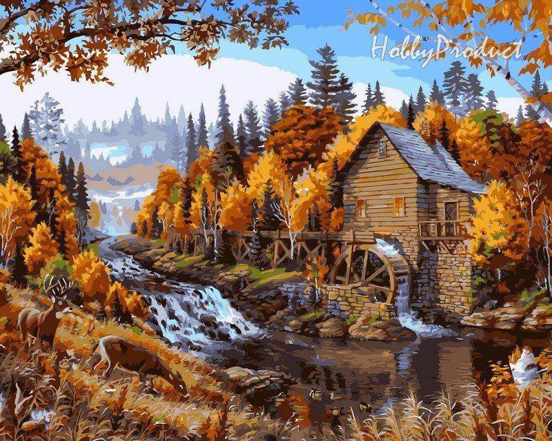 VP143 Раскраска по номерам Дом в лесу худ. Даелин Марк