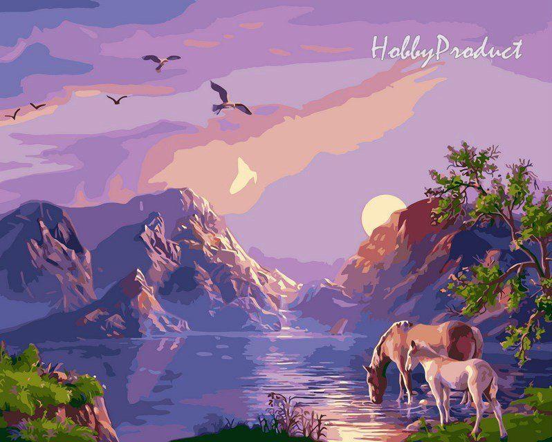 VP182 Раскраска по номерам Закат в горах худ. Цыганов Виктор