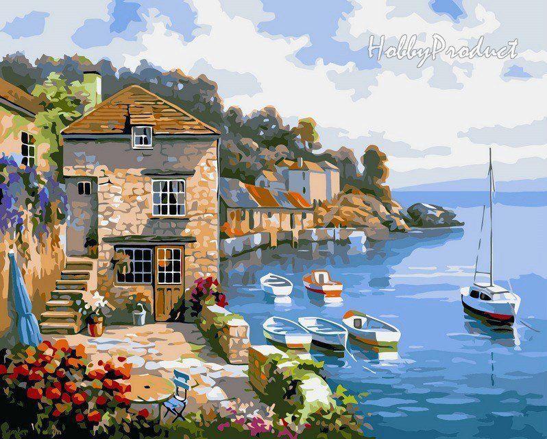 VP211 Раскраска по номерам Дом на берегу океана худ. Сунг Ким