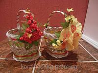 Пасхальная корзина белая детская плетенные из лозы с орхидеями