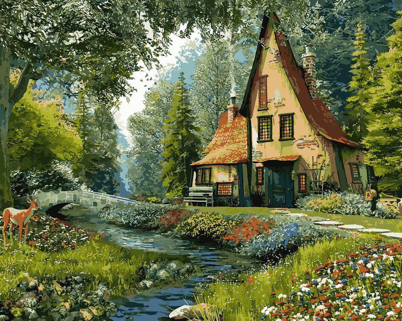 VP918 Раскраска по номерам Дом на опушке леса