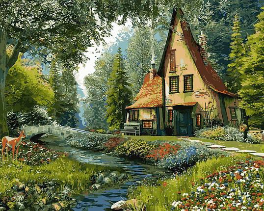 VP918 Раскраска по номерам Дом на опушке леса, фото 2