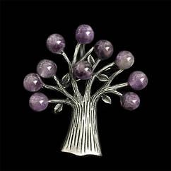 Жіноча брошка - Казкове дерево (Сірий з фіолетовим)