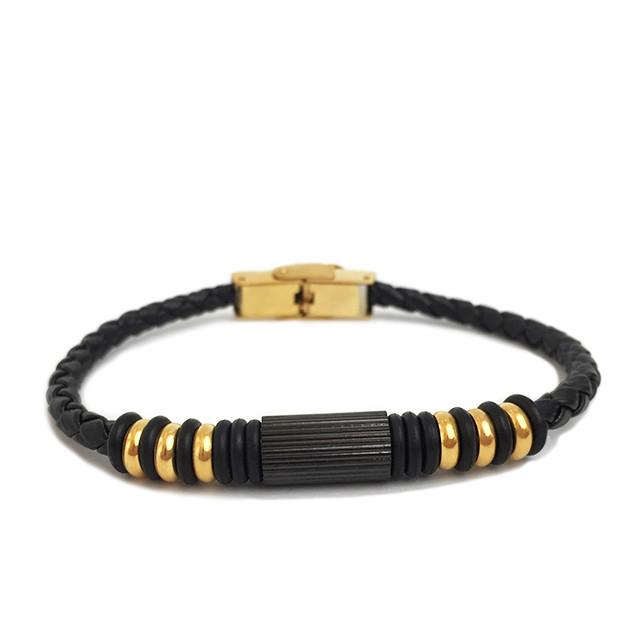 Шкіряний браслет - Хан Соло (Чорний з золотим)