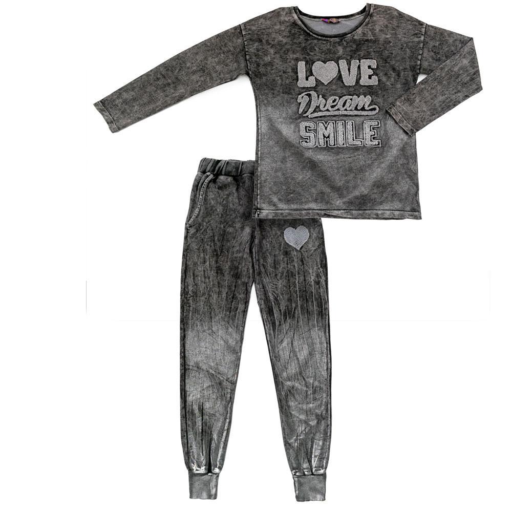 Костюм (брюки, бомбер) для девочек Toto 128  серый 980283