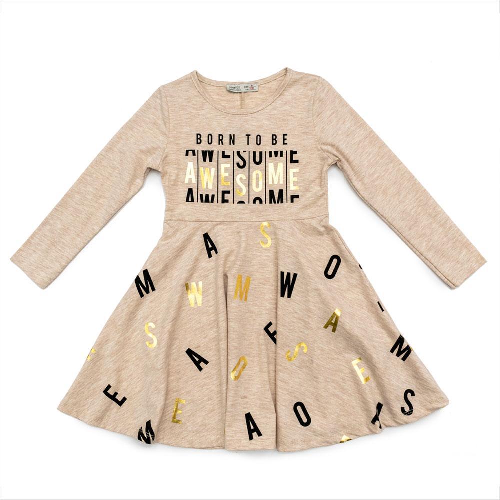 Платье для девочек Toontoy 116  бежевое 11940